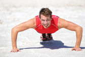 Push-ups - Fitness man crossfit training outdoors — Foto Stock