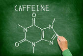 Caffeine molecule blackboard — Stock Photo