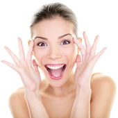 Beauty - happy funny Asian woman face expression — Stock Photo