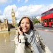 London - professional business woman on smartphone — Stock Photo