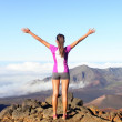 Success and achievement - hiking woman on top — Stock Photo