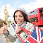 London tourist woman holding shopping bag, Big Ben — Stock Photo