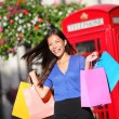 Shopping woman in London — Stock Photo
