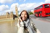 London - professional business woman on smartphone — Stock Photo