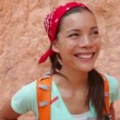 Hiking - Hiker woman portrait in Bryce Canyon — Stock Video #33041729