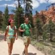 People hiking - couple hikers in Bryce Canyon — Stock Video #33041737