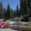 Hiker resting and hiking in Yosemite national park — Stock Video