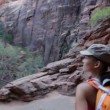 Hiker woman hiking in Zion National Park — Stock Video