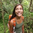 Hiker woman hiking in forest standing looking — Stock Video