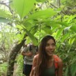 Hiking - hikers couple walking in rain forest — Stock Video