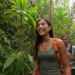 Hikers walking in rain forest jungle — Stock Video