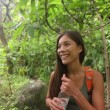 Hikers walking in rain forest drinking water — Stock Video