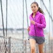 Female runner running and jogging in New York City — Stok fotoğraf