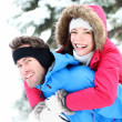 Happy winter couple — Stock Photo