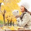 Fall concept - autumn woman drinking coffee — Stock Photo