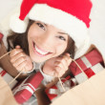 Beautiful woman christmas shopping — Stock Photo