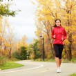 Fall running - woman jogging in autumn — Stock Photo