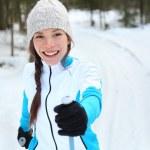 Cross-country skiing woman on ski — Stock Photo