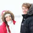 Winter people: young couple — Stock Photo