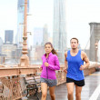 Runners couple running in New York — Stock Photo