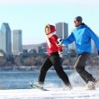 Winter couple fun on snowshoe in Montreal — Stock Photo