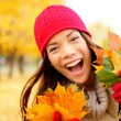 Excited happy fall woman — Stock Photo