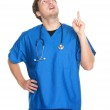 Nurse doctor pointing up — Stock Photo
