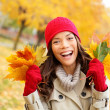 Fall woman happy and bliss — Stock Photo #34124189