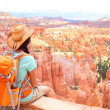 Hiker woman in Bryce Canyon hiking — Stock Photo #34124193