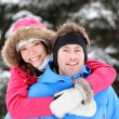 Happy young couple in winter — Stock Photo #34124221