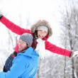 Winter fun couple — Stock Photo