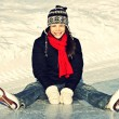Ice skating fun outdoors — ストック写真