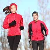 Healthy lifestyle winter running — Stock Photo