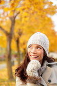 Fall woman thinking looking — Stock Photo