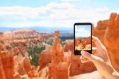 Smartphone camera phone taking photo, Bryce Canyon — Stock Photo