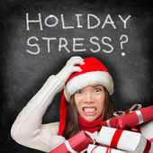Christmas holiday stress - stressed shopping gifts — Stock Photo