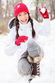Winter woman playing in snow — Photo