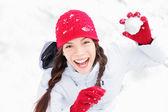 Snow girl having winter fun — Stock Photo