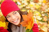 Fall woman looking — Stock Photo