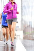 Running people - couple jogging in New York City — Stock Photo