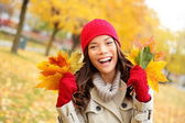 Fall woman happy and bliss — Stock Photo