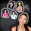 Career choice options - student thinking of future — Stock Photo