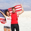 USA athletes people holding american flag cheering — Stockfoto #40836233