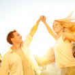 Dancing romantic couple in love in Venice, Italy — Stock Photo