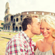 Love - Couple kissing fun in Rome by Colosseum — Stok fotoğraf #40836377