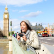 London travel banner - woman and Big Ben — Stock Photo