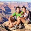 Hiking couple portrait - hikers in Grand Canyon — Stok fotoğraf