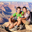Hiking couple portrait - hikers in Grand Canyon — Stock Photo