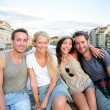 Friends - group of people on travel vacation — Stock Photo
