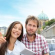 Stock Photo: Travel tourist couple on boat tour Berlin, Germany